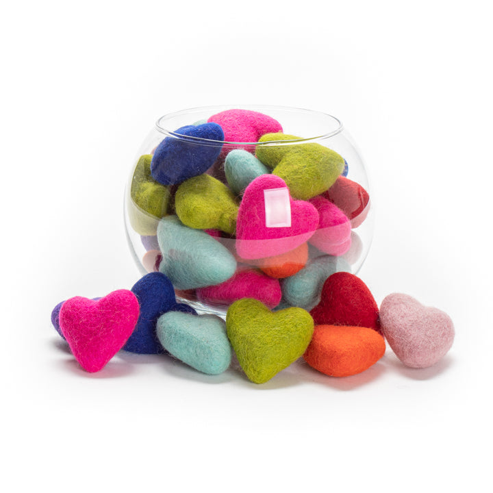 Felted Wool Heart Cat Toys from Karma Cat (Set of 2 toys)