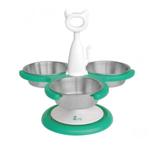 3-Bowl Raised Multi-cat Feeder with Ant-proof Base from Catswall