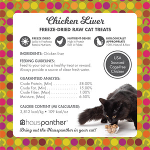 Hauspanther Freeze-dried Raw Single-Ingredient Cat Treats 1.5 oz. MADE IN THE USA
