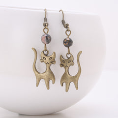 Sassy Cat Antique Bronze Earrings with Leopardskin Jasper