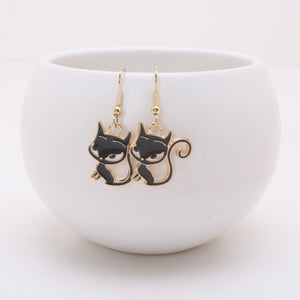 Sassy Black Cat Earrings