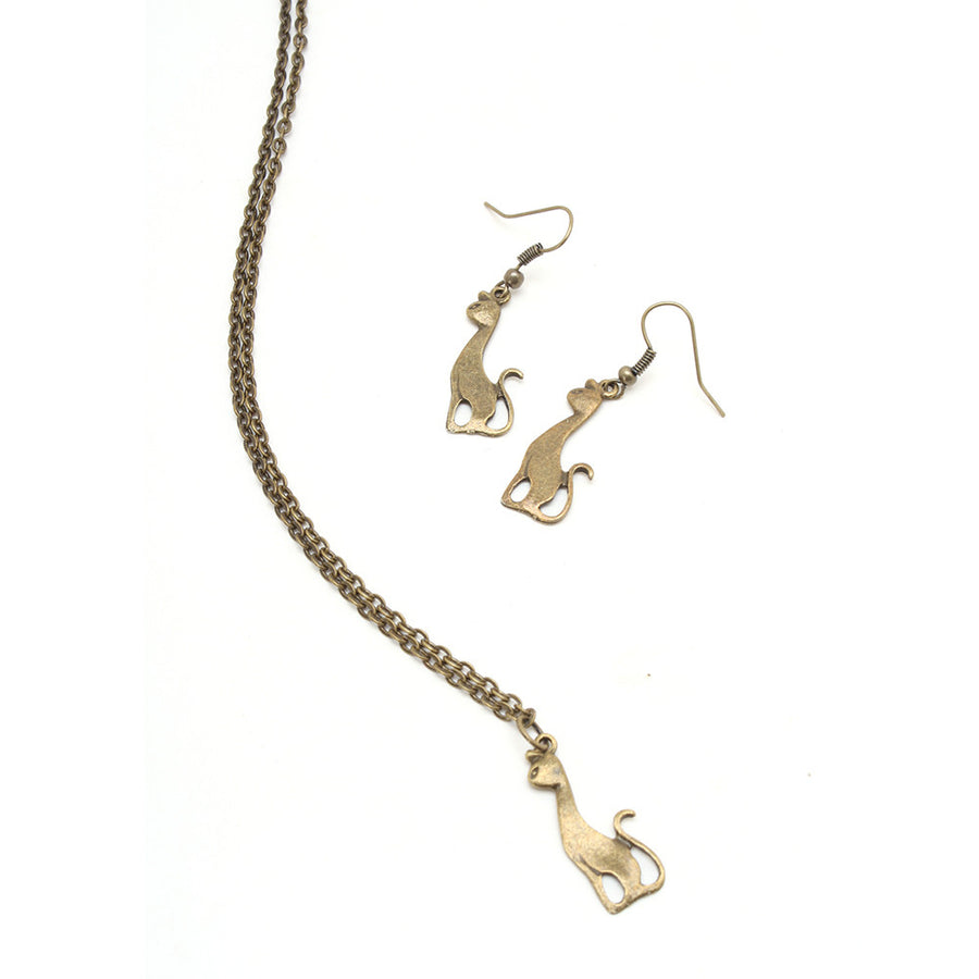 Antique Bronze Sophisticated Kitty Necklace & Earring Set