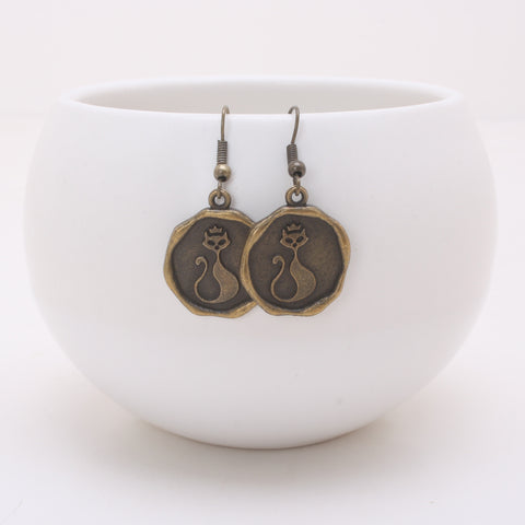 Antique Bronze Kitty Coin Charm Earrings
