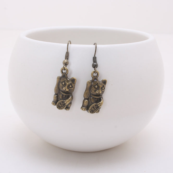 Antique Bronze Maneki Neko Earrings