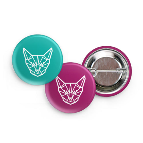 "Geometric Cat Head 1.5"" Buttons (Set of 2)"