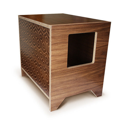 CURIO Modern Cat Litter Box :: Walnut + Pattern
