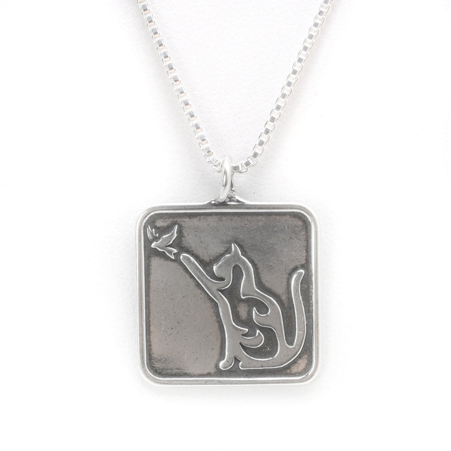Sterling Silver Cat & Bird Pendant (chain sold separately)