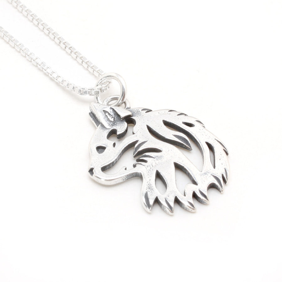 Sterling Silver Tribal Cat Head Pendant (chain sold separately)