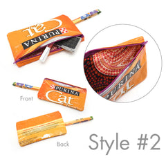 Junk Food Clutch - Zippered Handbag Made From Recycled Cat Food Bags