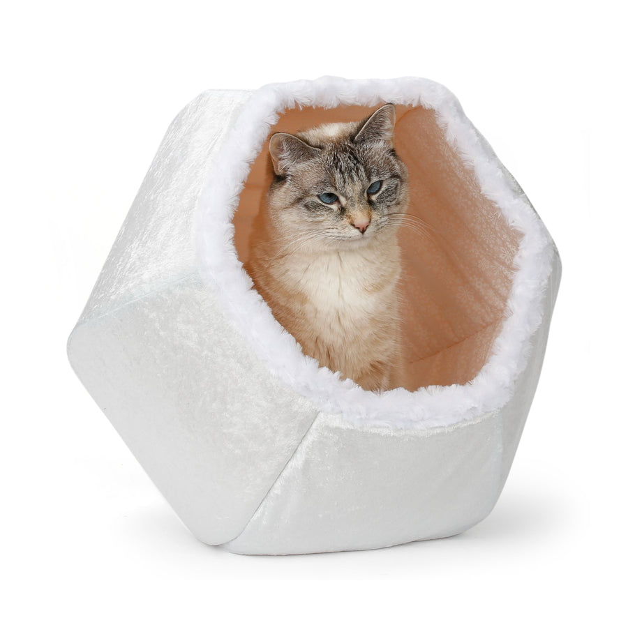 Holiday Edition Cat Ball® Hideaway Cat Bed :: Snowball White Velvet with White Faux Fur Trim