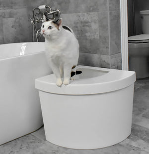 Kitangle Seamless Covered Litter Box :: Corner Style Top Entry