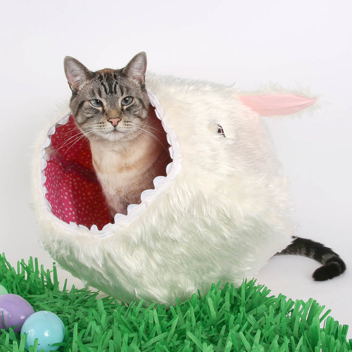 Fuzzy Rabbit Luxury Faux Fur Cat Ball® Hideaway Cat Bed