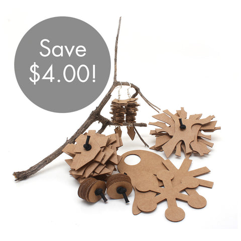 ECO COMBO! Eco-friendly Cardboard Toys For Kitty Plus Earrings For You!