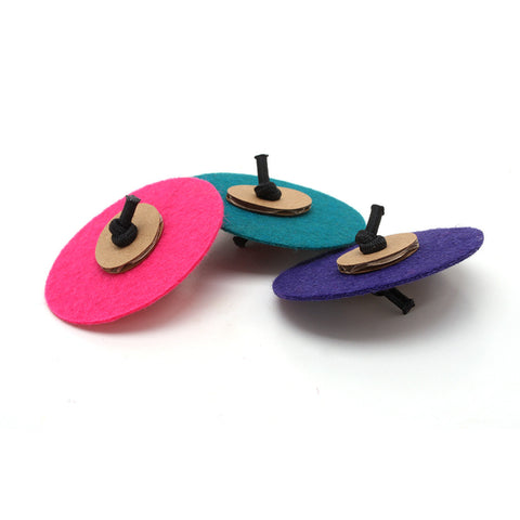 Flying Saucers - Felt & Cardboard Cat Toys (Set of 3 toys)