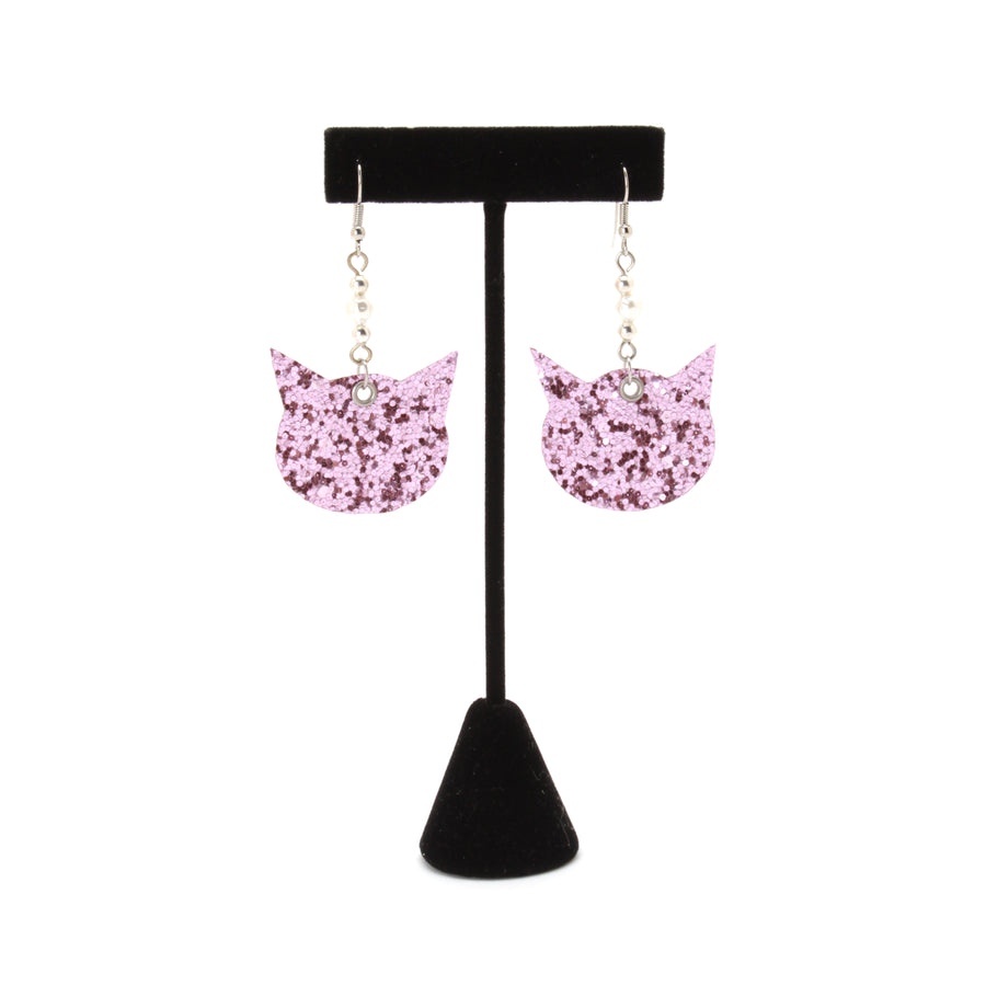 Glitter Cat Dangle Earrings