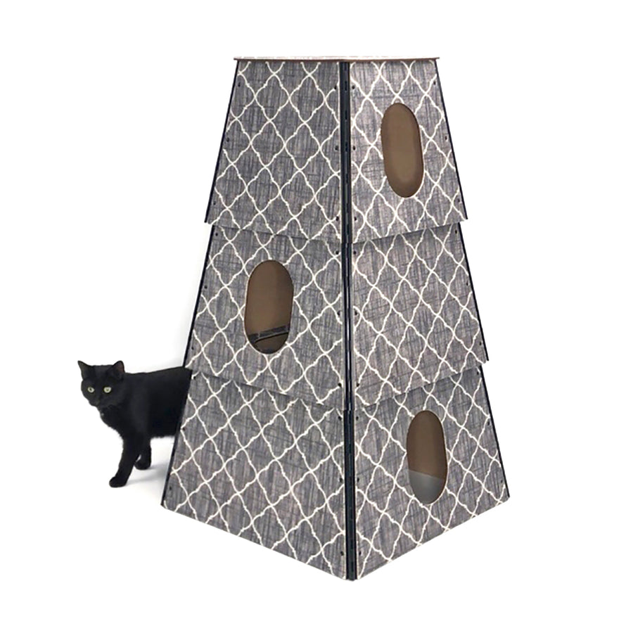 Happystack 3-Story Cat Tower :: Trellis Pattern LIMITED EDITION