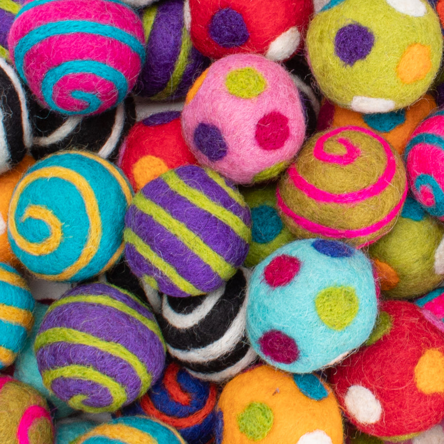 Colorful Felted Wool Ball Cat Toys from Karma Cat (Set of 2 toys)