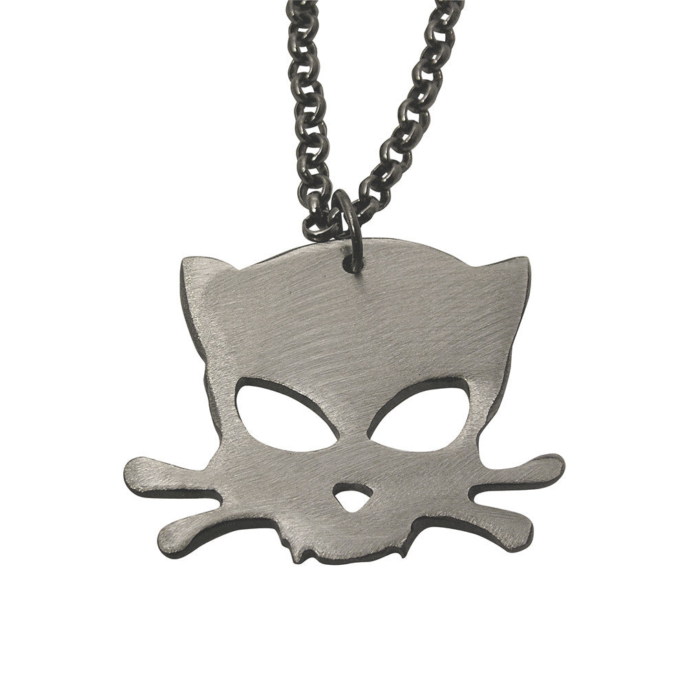 Outlaw Kitty Metal Charm with Gunmetal Chain by WATTO Distinctive Metal Wear