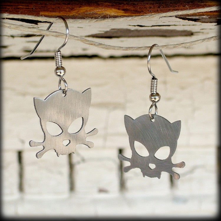 Outlaw Kitty Earrings by WATTO Distinctive Metal Wear