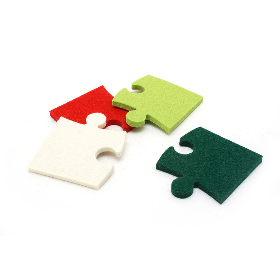 Holiday Puzzle Pieces - Merino Wool Felt Cat Toys (Set of 4 toys)
