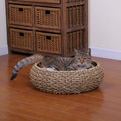 Round Woven Cat Bed from PetPals :: Seagrass or Paper Rope