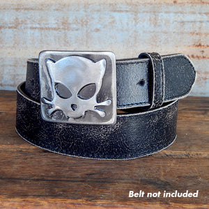Outlaw Kitty Square Belt Buckle by WATTO Distinctive Metal Wear