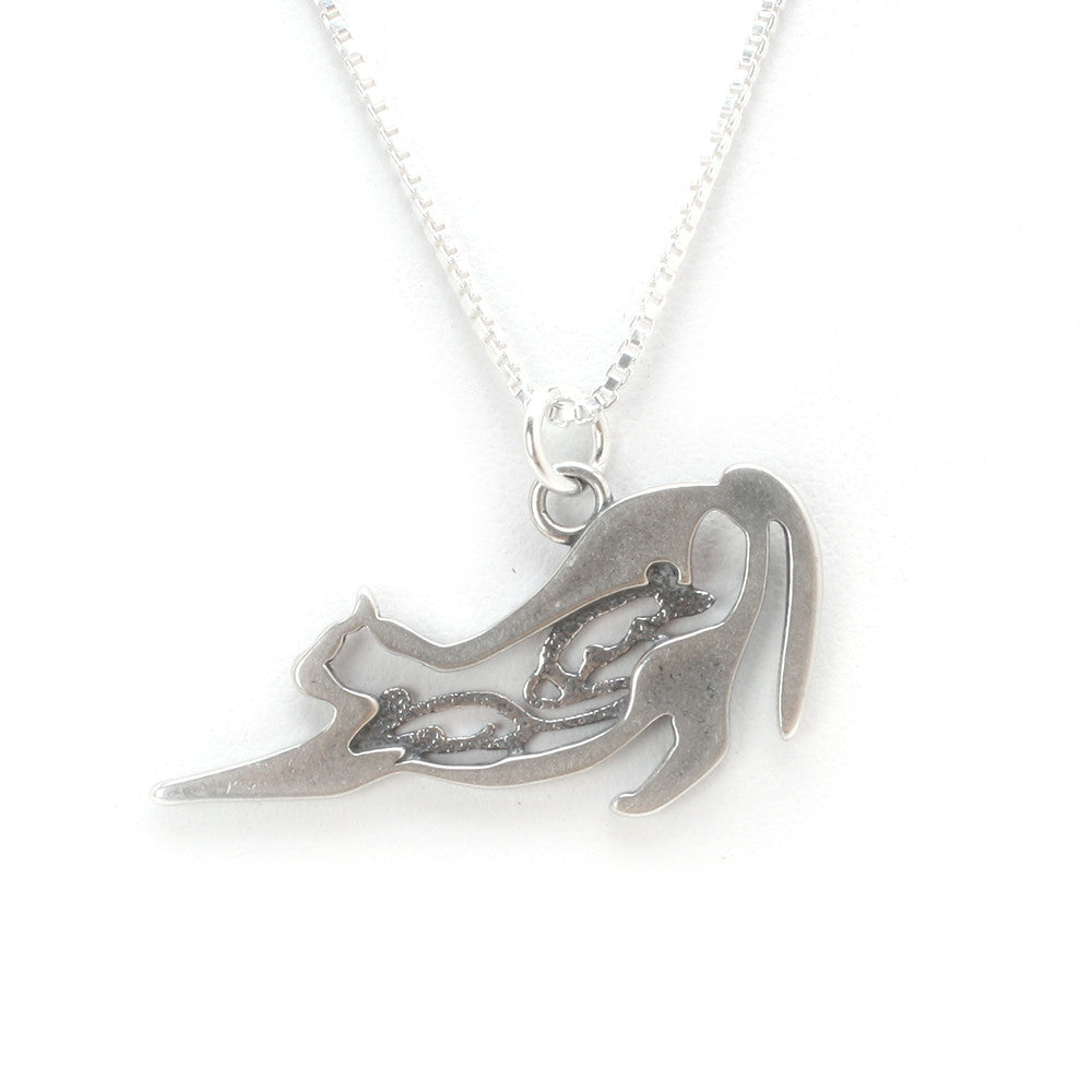 Sterling Silver Satisfied Cat Pendant (chain sold separately)