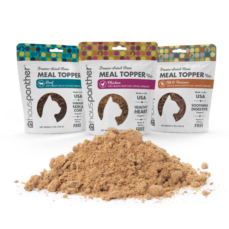Hauspanther Freeze-dried Raw Meal Topper for Cats with Daily Support Supplements 5 oz. MADE IN THE USA