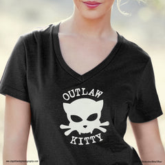 Outlaw Kitty Women's V-neck T-shirt by WATTO Distinctive Metal Wear