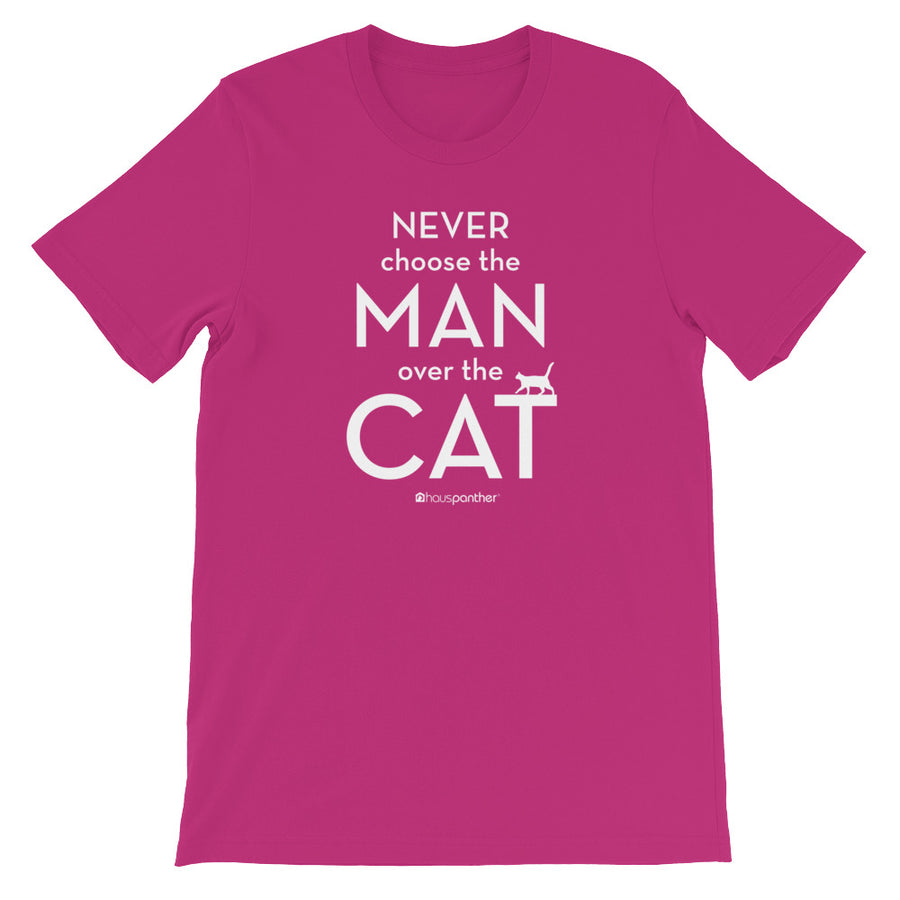 Never Choose the Man Over the Cat™ Short-Sleeve Unisex T-Shirt (Dark Colors)