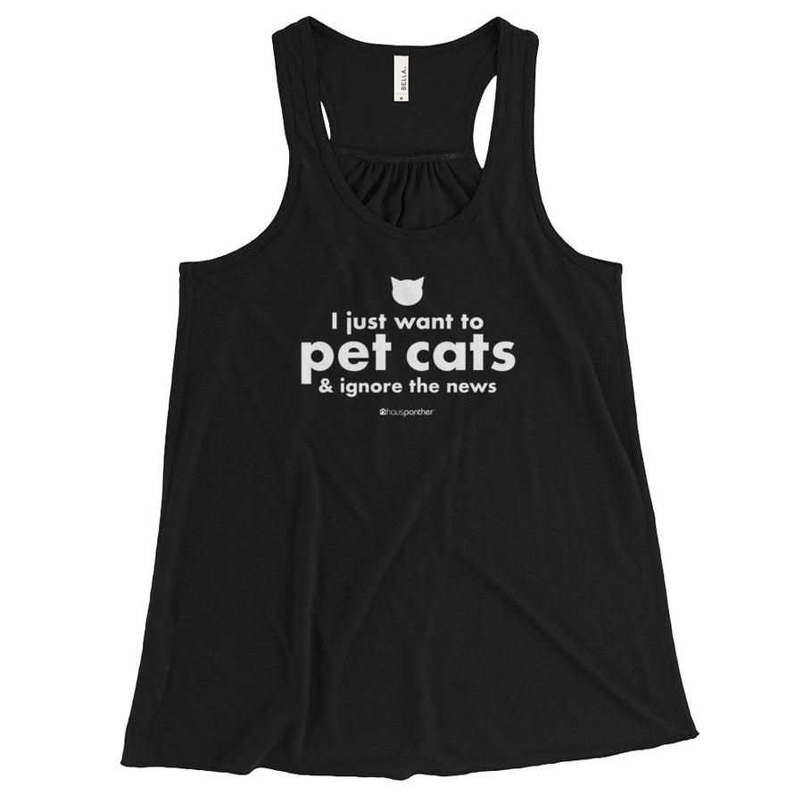 I Just Want to Pet Cats & Ignore the News™ Women's Flowy Racerback Tank