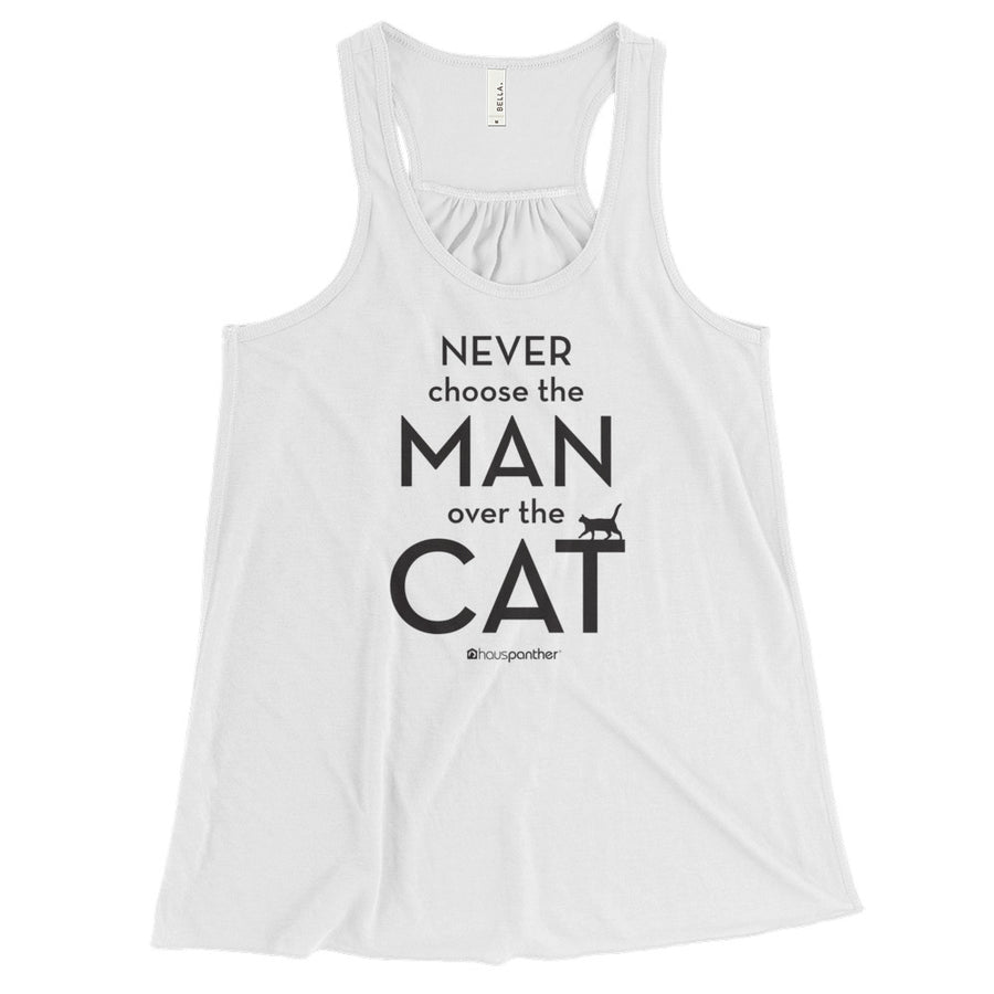 Never Choose the Man Over the Cat™ Women's Flowy Racerback Tank (Light Colors)