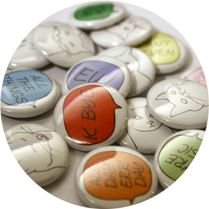 Kitty Thoughts Pin Set from Jar of Buttons (set of 4)