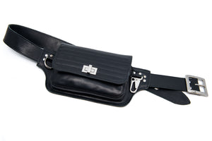 Moto Hip Pack in Black Leather with Silver Hardware - MADE TO ORDER