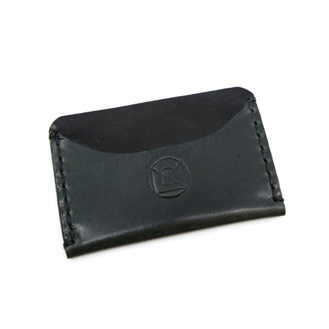 Horizontal Minimalist Wallet - Black and Grey with Black Stitching