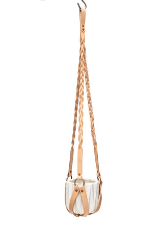 Plant Hanger Braided Natural Leather w/ Copper - Small