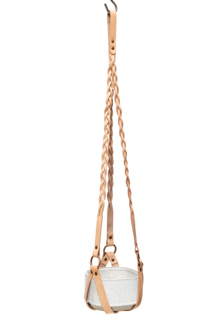 Plant Hanger Braided Natural Leather w/ Copper - Large