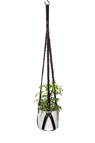 Plant Hanger Braided Black Leather w/ Brass - Small