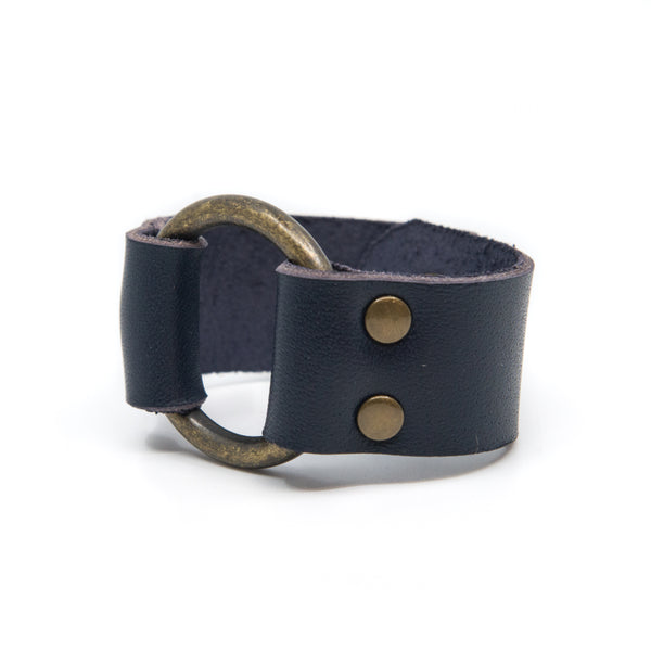 Navy Blue Leather Cuff with Brass Hardware