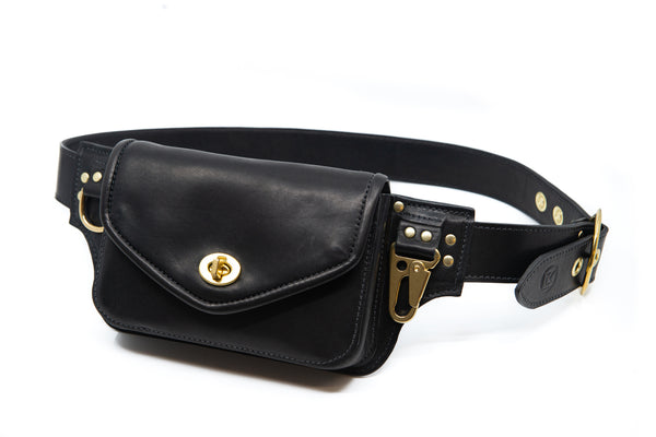 Hip Pack in Black with Brass Hardware - MADE TO ORDER