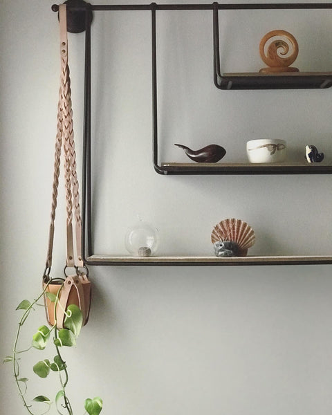 Plant Hanger Braided Natural Leather w/ Antique Brass - Large