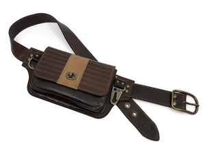 Moto Hip Pack in Brown and Sand Leather with Brass Hardware