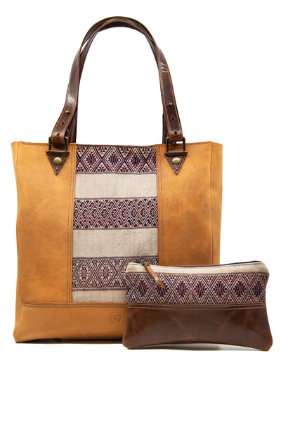 Burma Tote with Detachable Clutch - Blue, Grey or Sand