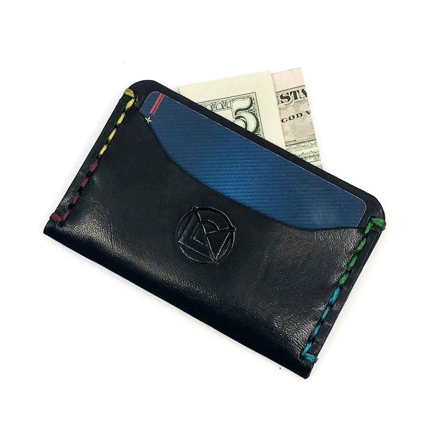 Horizontal Minimalist Wallet - Black Rainbow