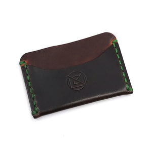 Horizontal Minimalist Wallet - Brown with Green Stitching
