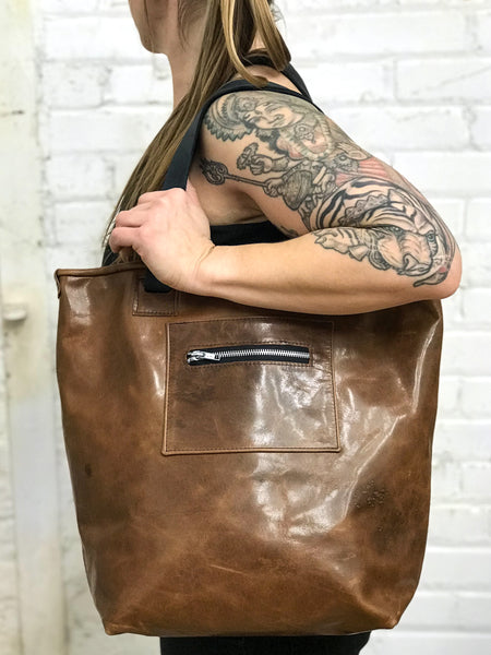 Ziggy Convertible Backpack Tote Sand and Brown - Zipper Edition