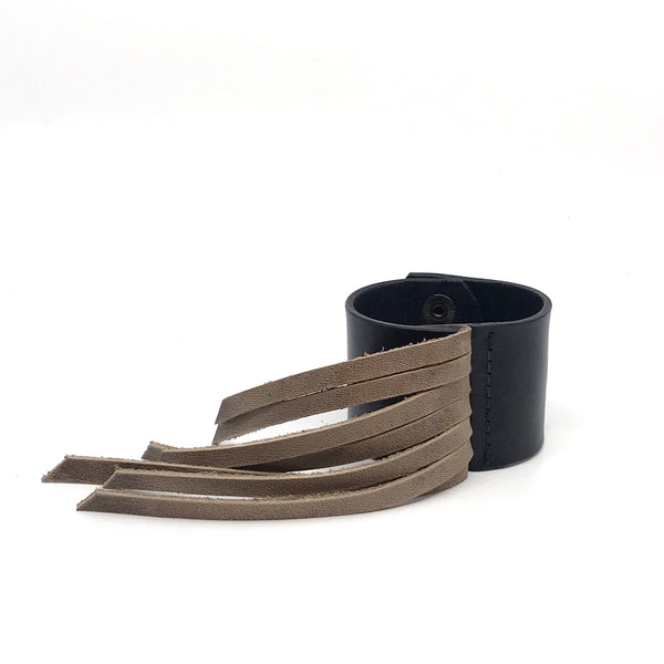 Stevie Black Leather Cuff with Fringe