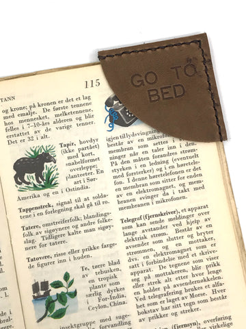 Leather Bookmark - Go To Bed