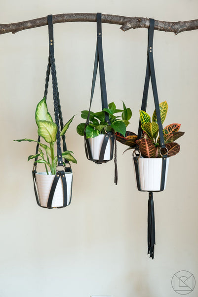 Plant Hanger Braided Black Leather w/ Nickel - Small