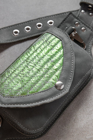 Moto Hip Pack in Grey and Green Fish Leather with Nickel Hardware